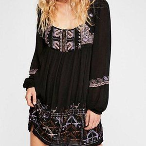 Free people black long sleeve dress embroidered bo